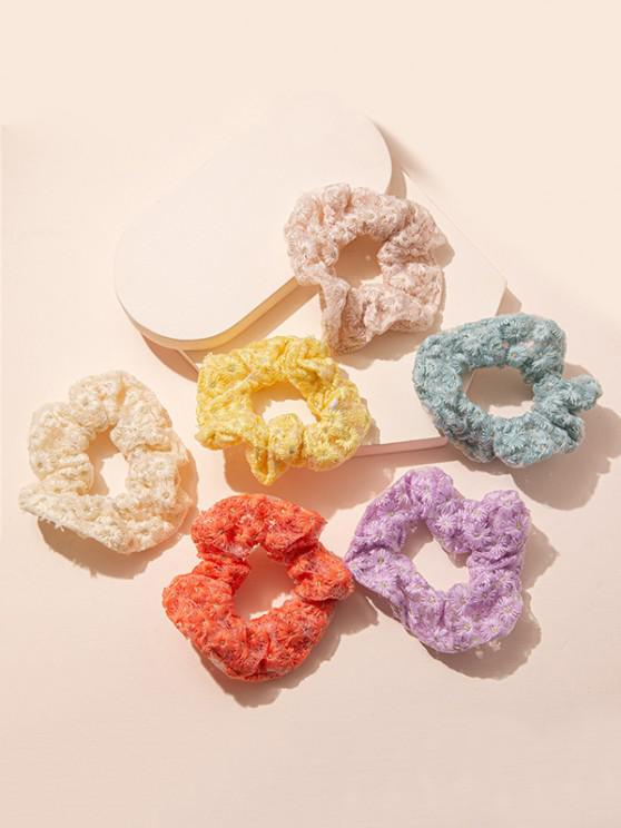 6Pcs Flower Embroidered Scrunchies Set - متعدد