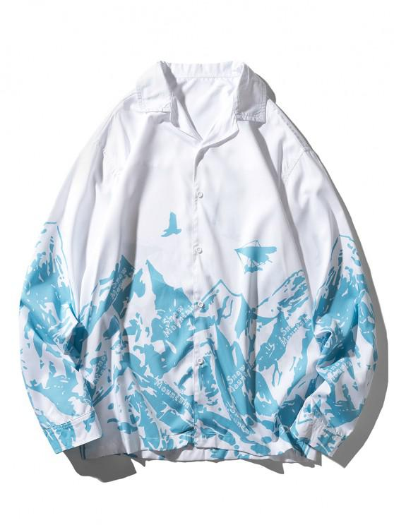 Camisa Casual de Manga Larga con Estampado de Montaña de Contraste - Celeste M