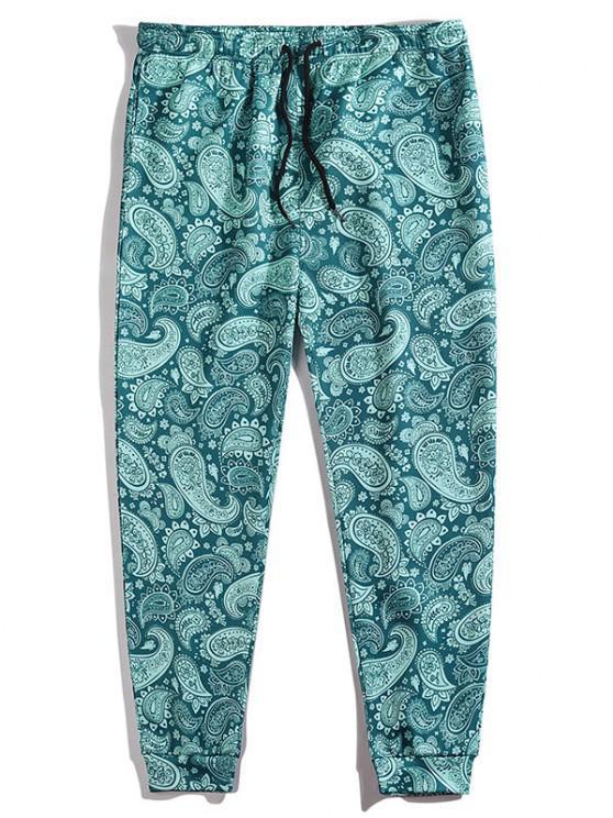 unique Paisley Print Elastic Waist Pants - PEACOCK BLUE M