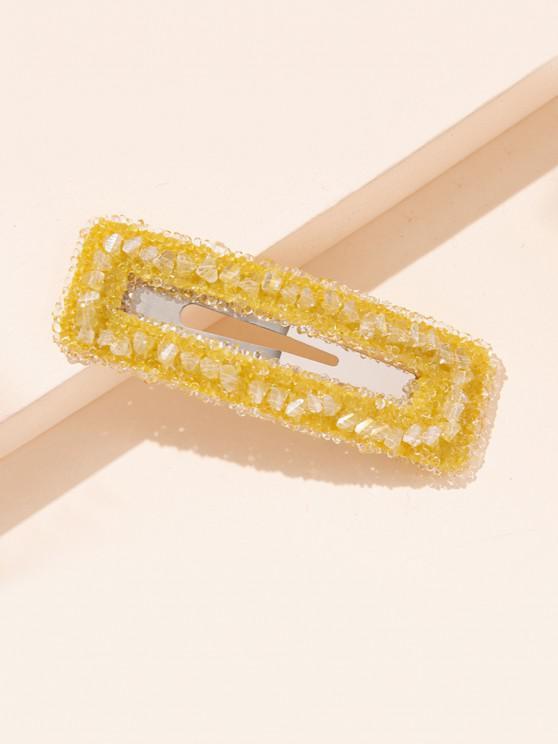 Rectangle Faux Crystal Hair Clip - بني ذهبي