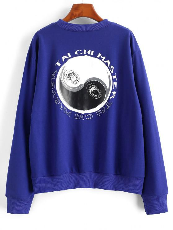 Tai Chi Print Oriental Drop Shoulder Pullover Sweatshirt - أزرق M