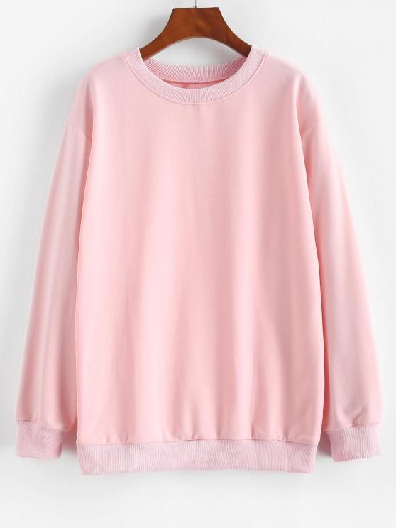 latest Basic Drop Shoulder Pullover Sweatshirt - LIGHT PINK M