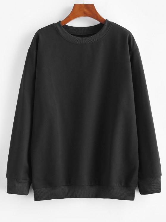 shop Basic Drop Shoulder Pullover Sweatshirt - BLACK L