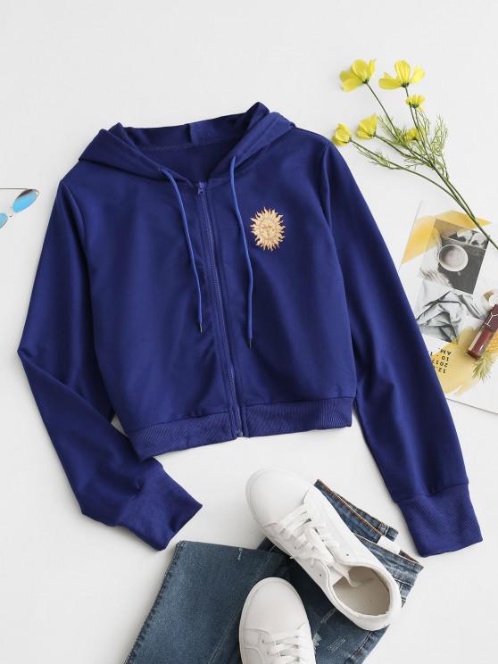 sale Sun Print Hooded Drawstring Jacket - BLUE L