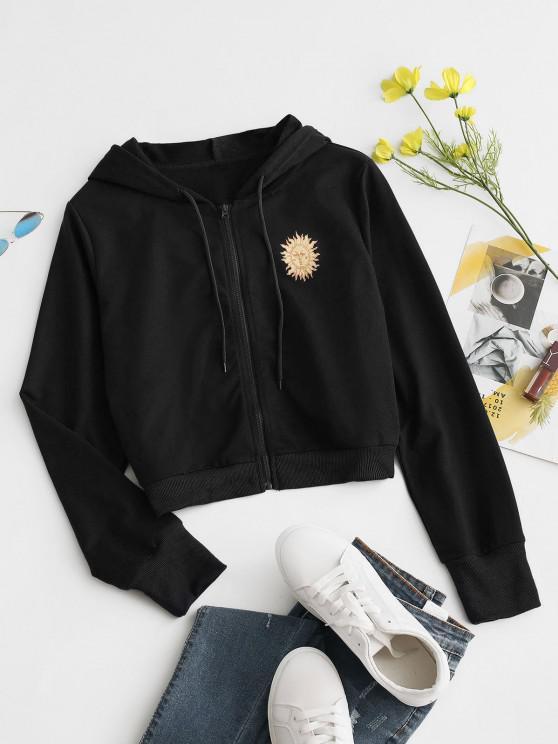 trendy Sun Print Hooded Drawstring Jacket - BLACK M