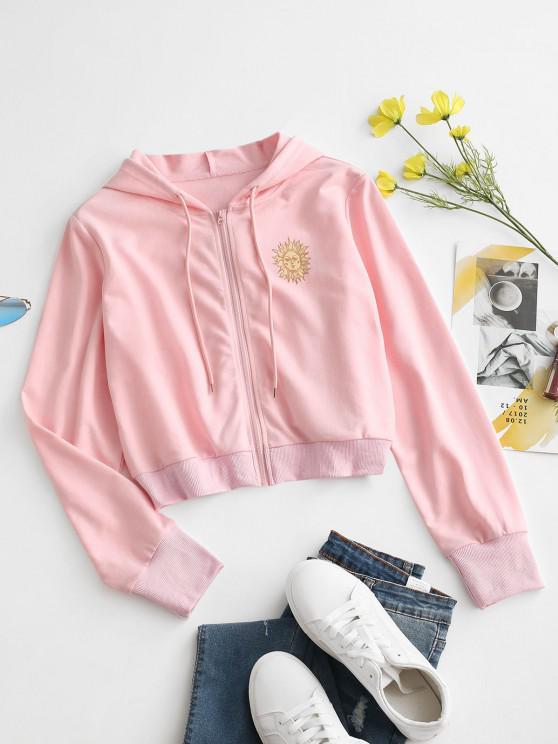 Sun Print Hooded Drawstring Jacket - وردي فاتح M