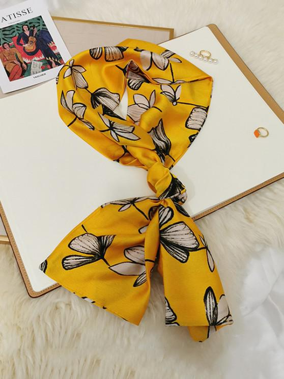 lady Flower Printed Long Satin Scarf - YELLOW