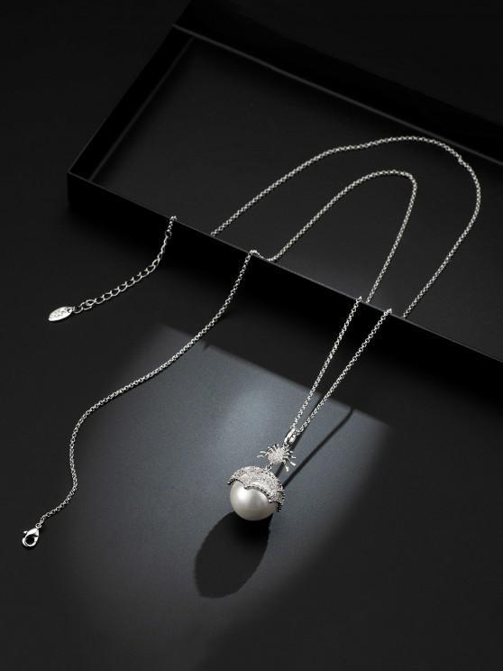 Spider Faux Pearl Zircon Copper Necklace - أبيض
