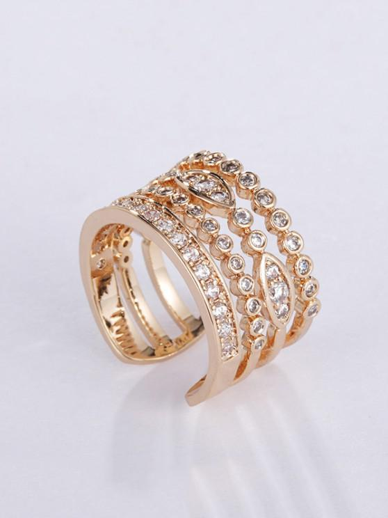 lady Copper Zircon Inlaid Open Ring - GOLDEN