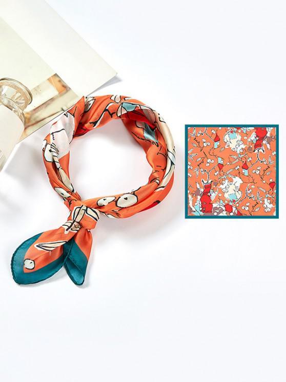 Abstract Vase Print Satin Square Scarf - البرتقالي