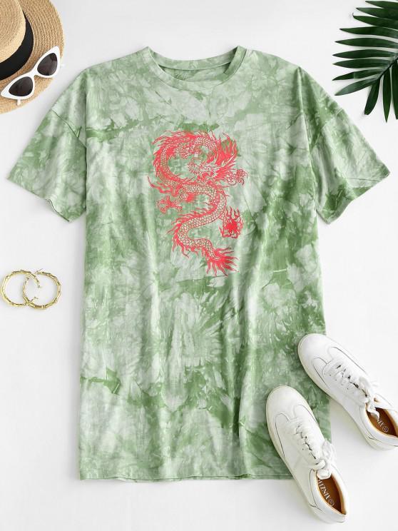 hot ZAFUL Oriental Tie Dye Dragon Print Tee Dress - LIGHT GREEN M