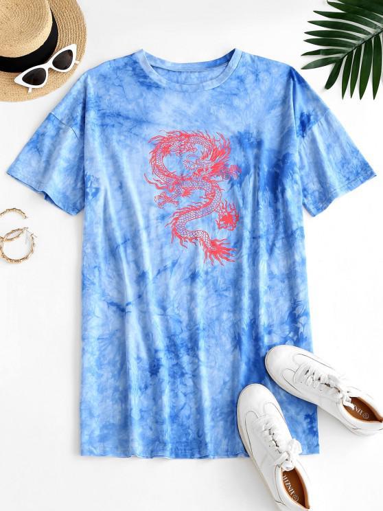 shop ZAFUL Oriental Tie Dye Dragon Print Tee Dress - LIGHT BLUE S
