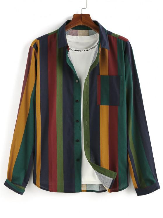 ZAFUL Colorblock Stripes Pocket Long Sleeve Shirt - متعدد 2XL