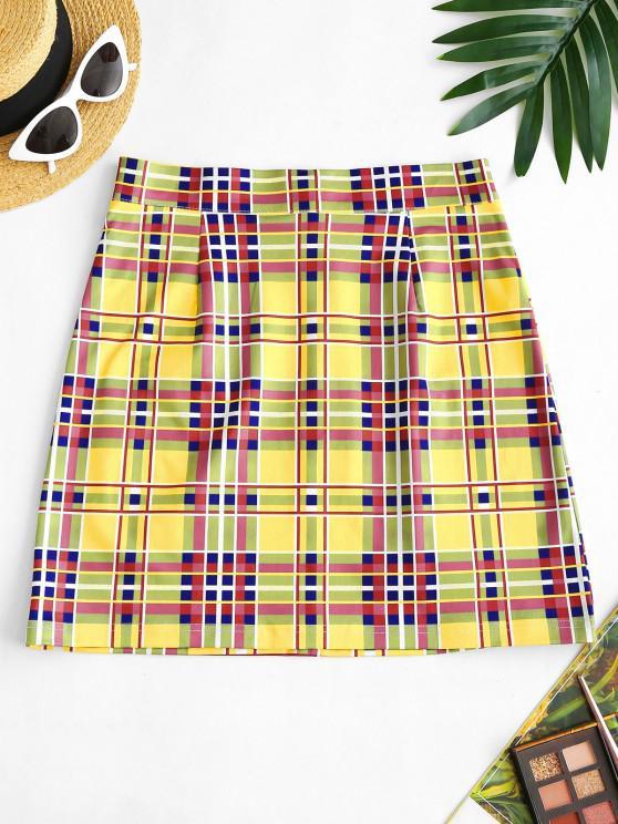 Falda de Cintura Alta a Cuadros y Cremallera - Amarillo XL