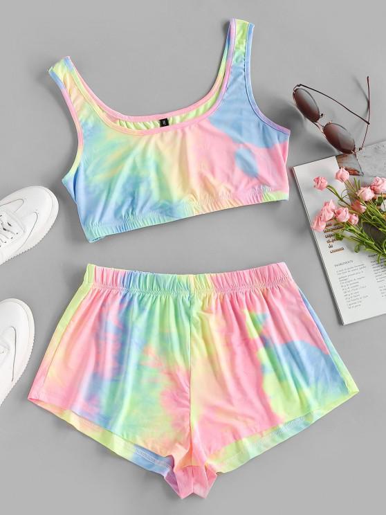 fashion ZAFUL Tie Dye Crop Top and Shorts Set - MULTI-A S