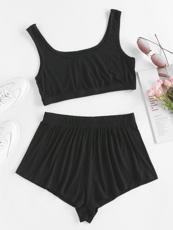 unique ZAFUL Tie Dye Crop Top and Shorts Set - BLACK S