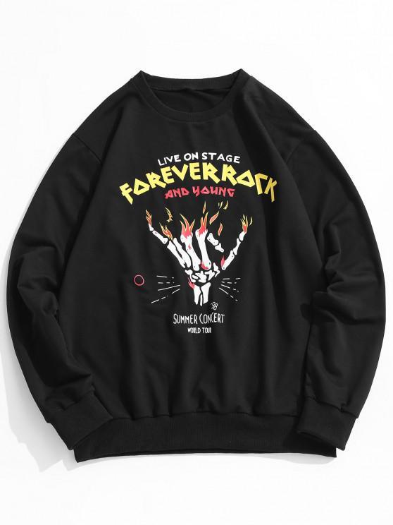 Moletom suéter gola redonda com marcas de letras - Preto XL