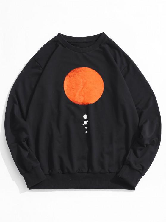 lady Sun Planet Print Crew Neck Sweatshirt - BLACK 2XL