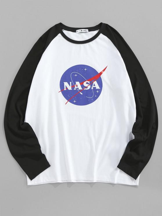 ZAFUL Raglanärmel T-Shirt mit Grafikdruck - Weiß 2XL