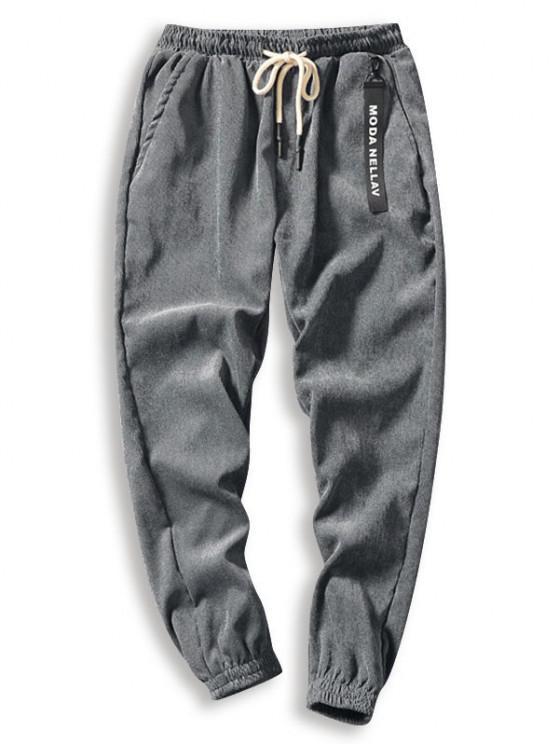 Calças de Veludo Cotelê Sólido - Cinzento XS
