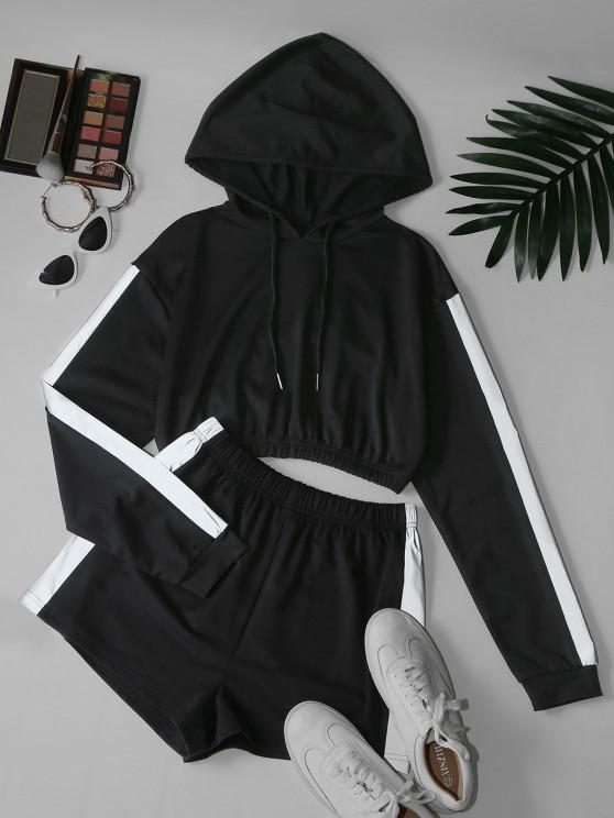 buy Reflective Trim Crop Hoodie and Shorts Two Piece Set - BLACK L