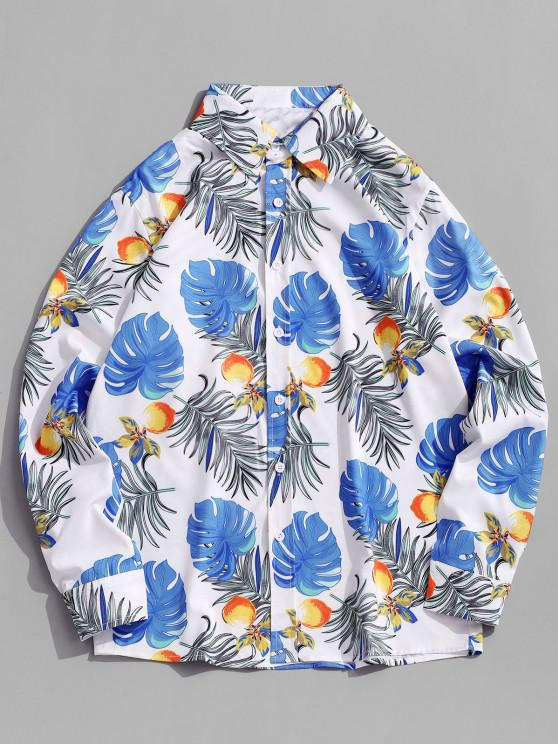 women's Button Down Floral Leaves Print Vacation Shirt - BLUE IVY M