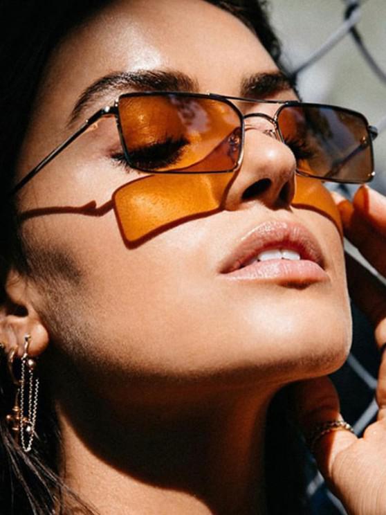 new Metal Rectangle Crossbar Sunglasses - COFFEE