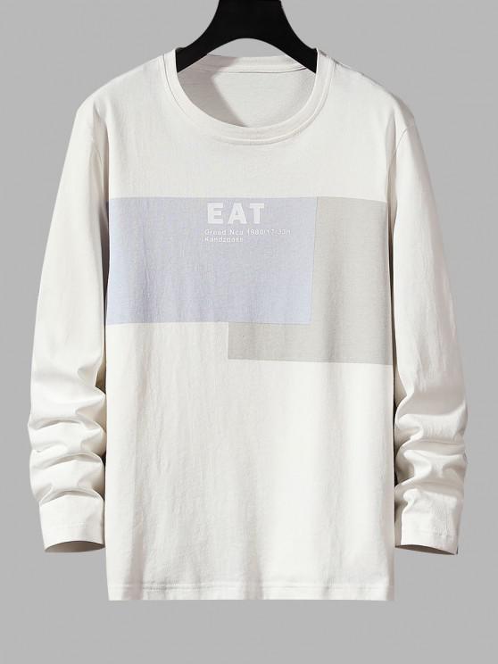 Essen Buchstabedruck Kontrast Basik T-Shirt - Weiß S