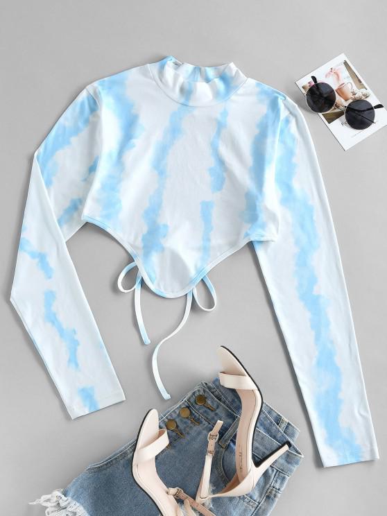 hot ZAFUL Tie Dye Backless Hanky Hem Crop T-shirt - LIGHT BLUE L