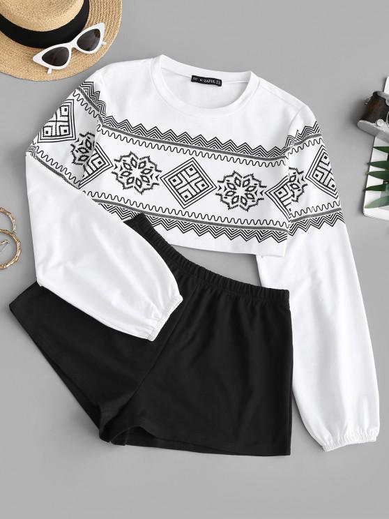 women Graphic Crop Sweatshirt and Pull On Shorts Set - BLACK M