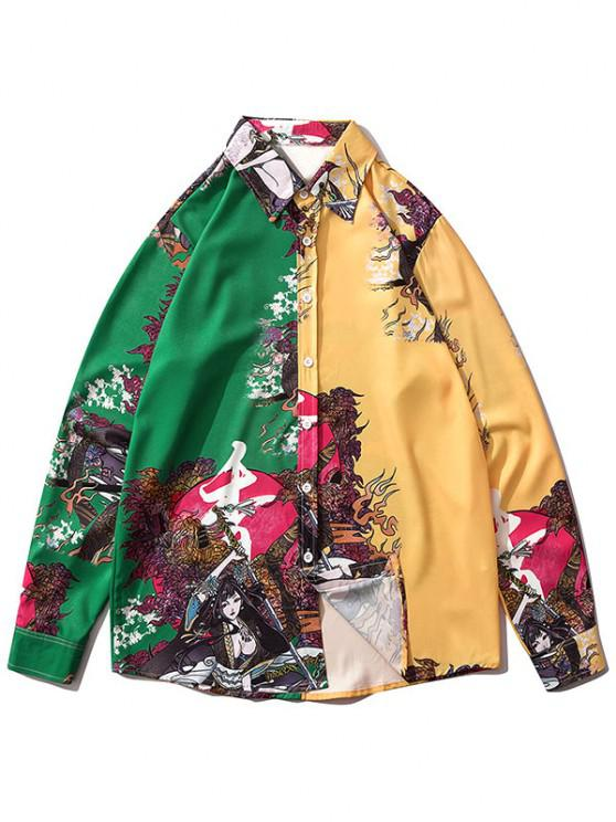 women's Geisha Samurai Print Two Tone Long Sleeve Shirt - DEEP GREEN S