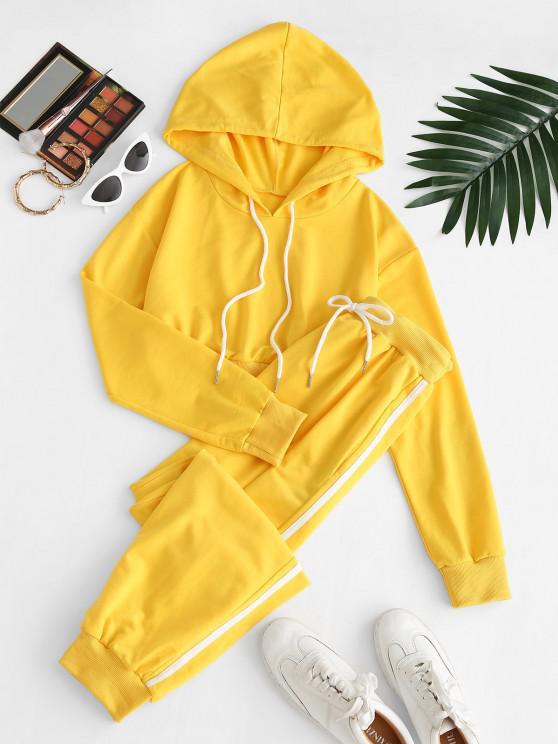 hot Crop Hoodie and Drawstring Stripe Trim Pants Set - YELLOW XL