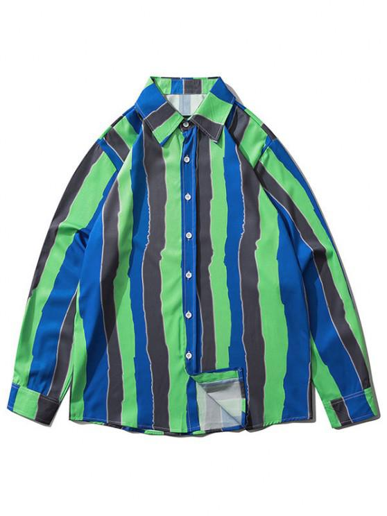 fashion Colorblock Striped Print Long Sleeve Shirt - CLOVER GREEN XL