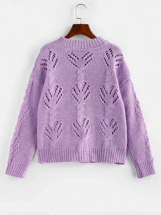 Cable Pointelle Knit Drop Shoulder Cardigan - Light Purple M   ZAFUL