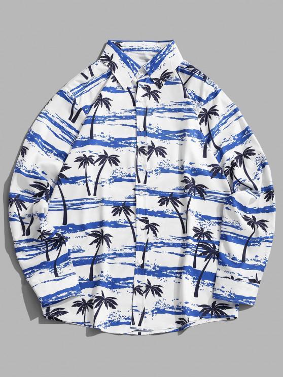 trendy Palm Tree Seawater Print Casual Long Sleeve Shirt - SILK BLUE 2XL