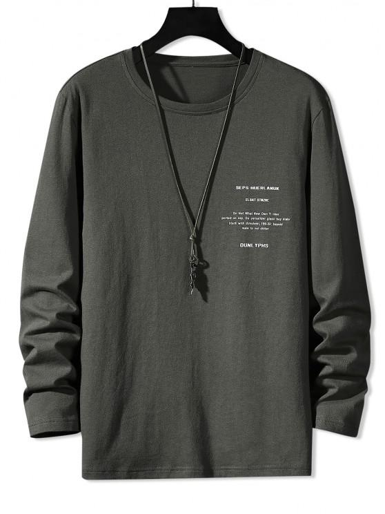 Camiseta Básica Manga Larga Estampado Letras - Gris Oscuro XS