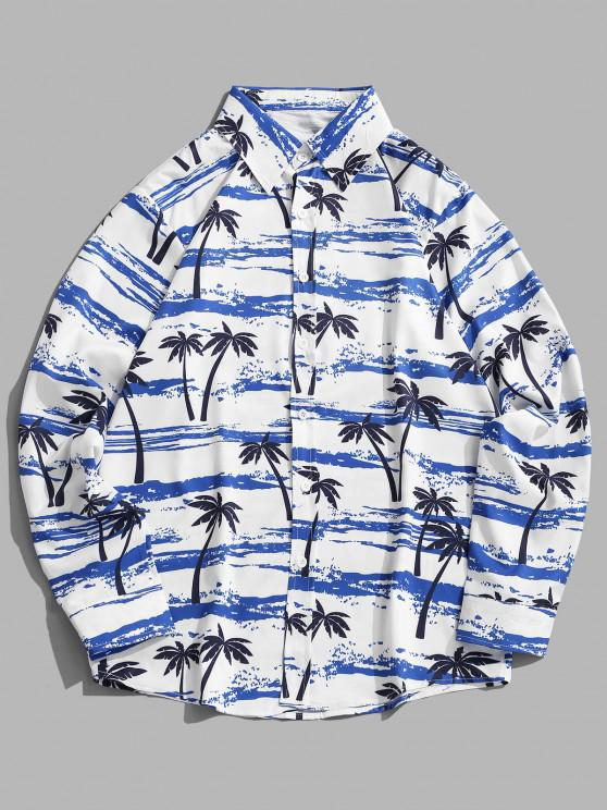 outfits Palm Tree Seawater Print Casual Long Sleeve Shirt - SILK BLUE M