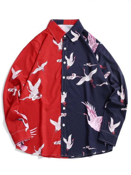 chic Contrast Crane Print Long Sleeve Shirt - RED M
