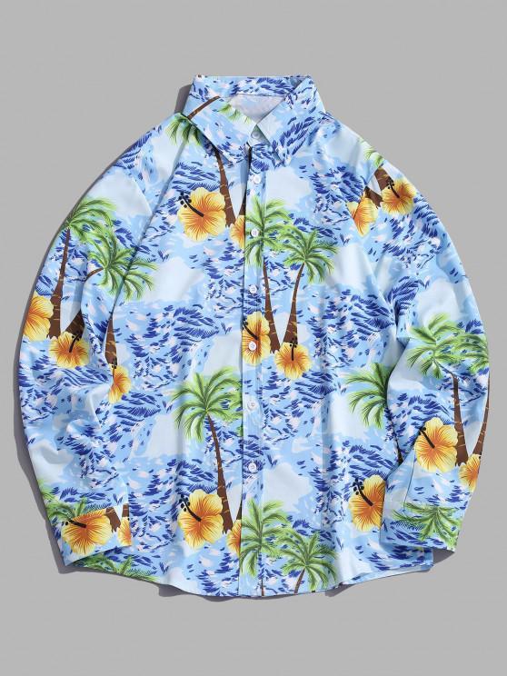 hot Palm Tree Seawater Print Casual Long Sleeve Shirt - DEEP SKY BLUE 2XL