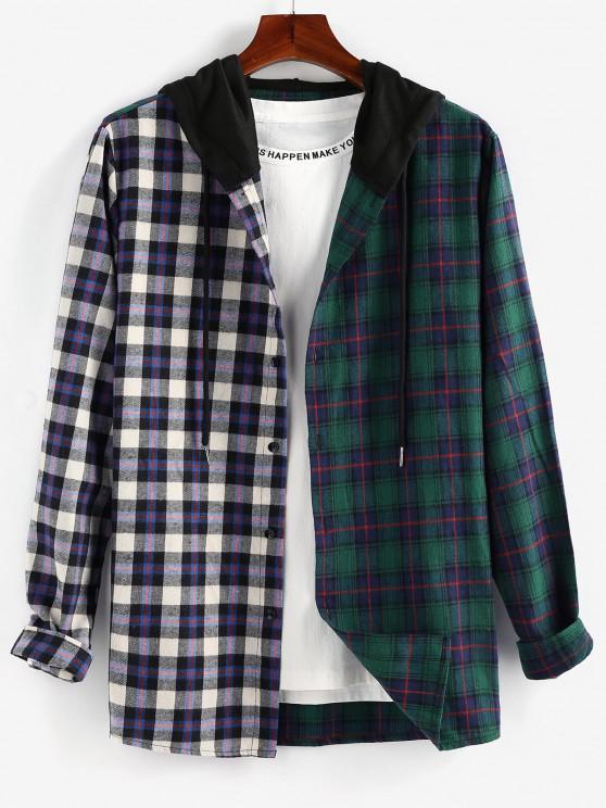 chic ZAFUL Contrast Plaid Print Hooded Shirt - MULTI M