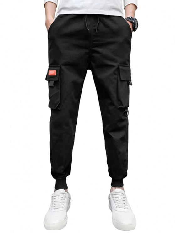 Drawstring Flap Pocket Beam Feet Cargo Pants - أسود M