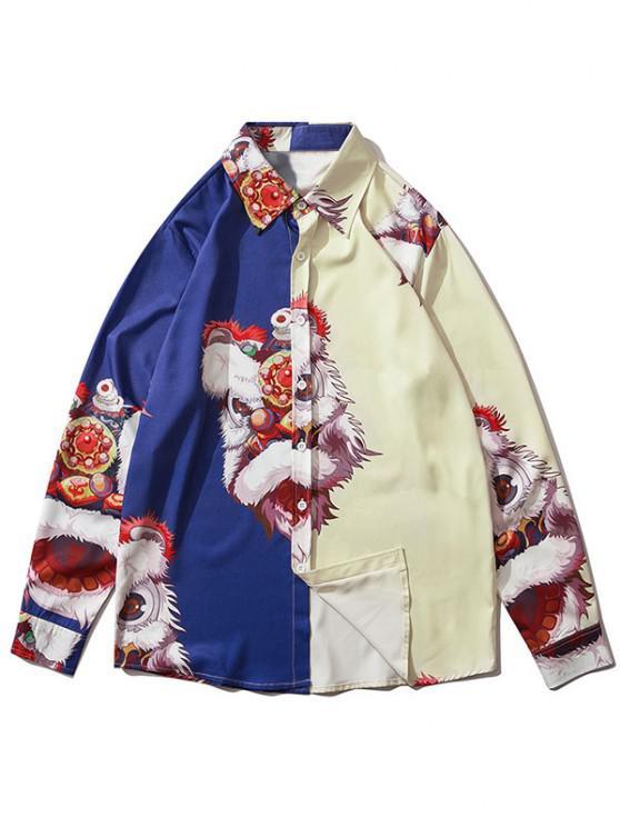 chic Long Sleeve Cartoon Lion Print Shirt - COBALT BLUE S