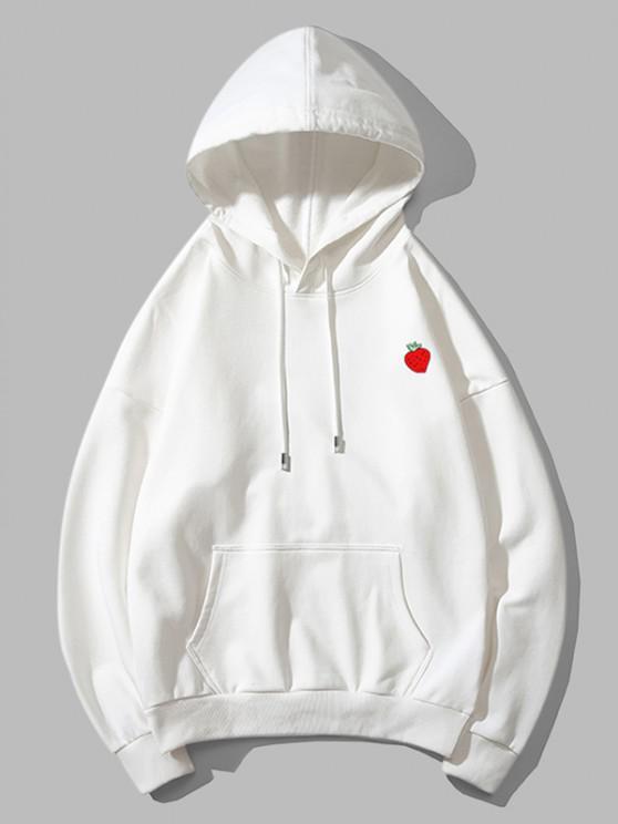 buy Strawberry Print Drop Shoulder Hoodie - WHITE 3XL