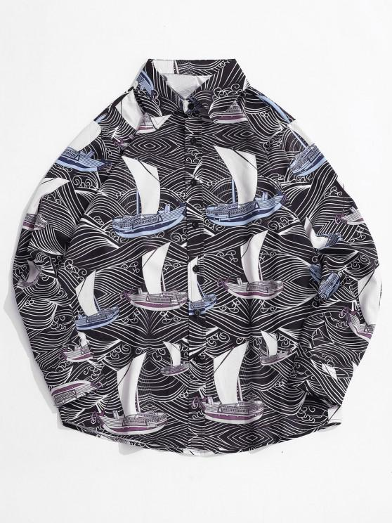 fashion Allover Printed Button Up Long Sleeve Shirt - BLACK L
