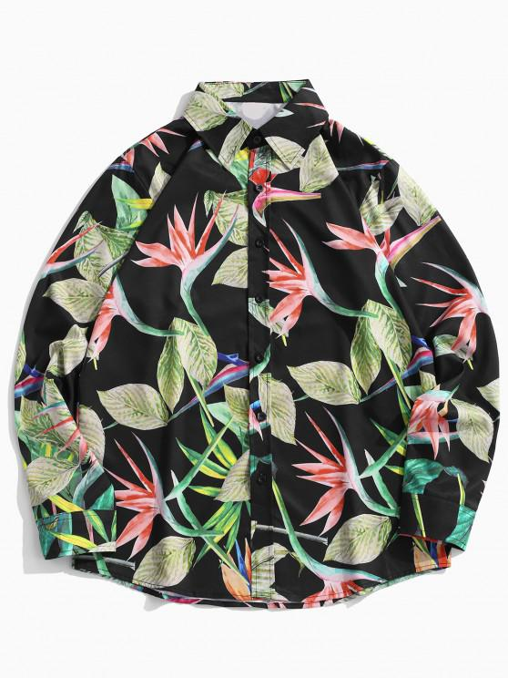 shop Tropical Leaves Print Floral Vacation Shirt - PINE GREEN M