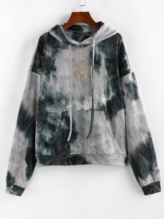 ZAFUL Tie Dye Sun Print Pullover Hoodie - رمادي فاتح S