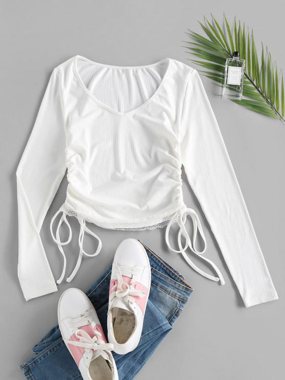 ZAFUL Enrugado Gola V T-shirt - Branco S