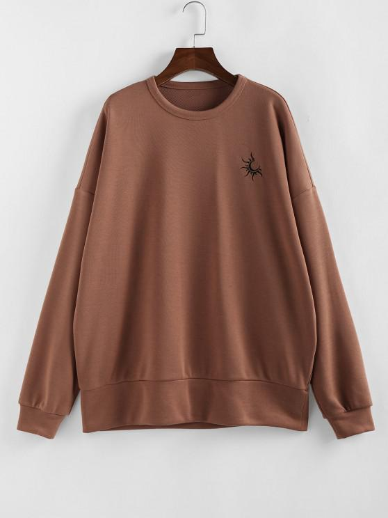 fancy Drop Shoulder Graphic Oversized Sweatshirt - RUST S