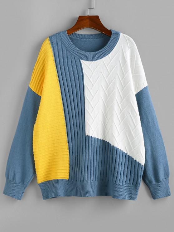 Pullover mit Hängender Schulter und Farbblock - Multi S