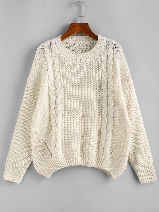 Drop Shoulder Cable Knit Loose Sweater - أبيض M